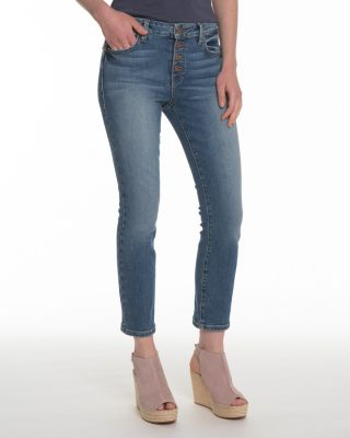 Level 99 Holly Button-Front Straight-Leg Jeans