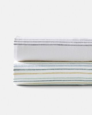 Cottage Stripe Relaxed-Linen Sheets
