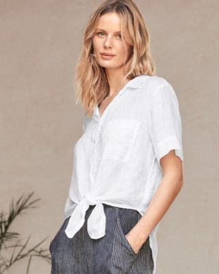 CP Shades Georgia Tie-Front Linen Shirt