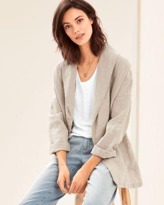 EILEEN FISHER Organic-Linen Shawl-Collar Jacket