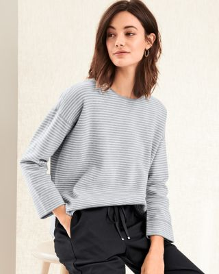 EILEEN FISHER Organic Cotton and Silk Striped Sweater
