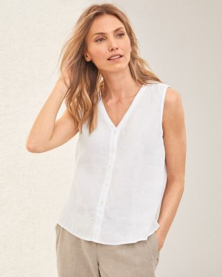 EILEEN FISHER Organic-Handkerchief-Linen Button-Up Shell​
