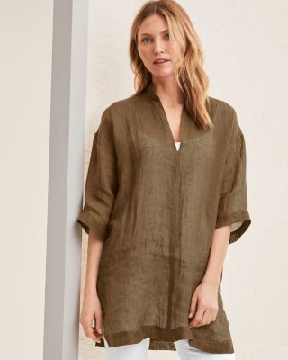 EILEEN FISHER Organic-Linen-Gauze Tunic Top