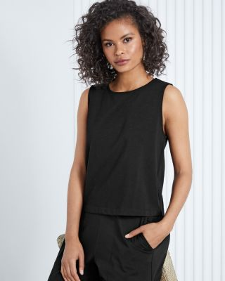 EILEEN FISHER Stretch-Cotton Round-Neck Shell Top