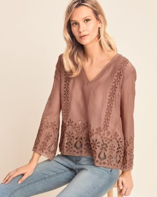 Jade by Johnny Was Colette Eyelet Top