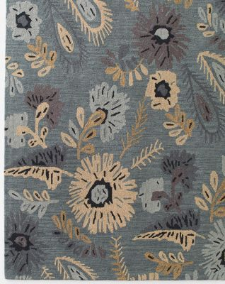 Paisley Floral Hooked Wool Rug