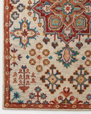 Floral Medallion Hooked Wool Rug