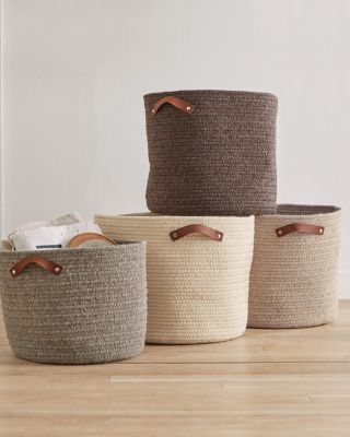 Braided-Wool Storage Basket