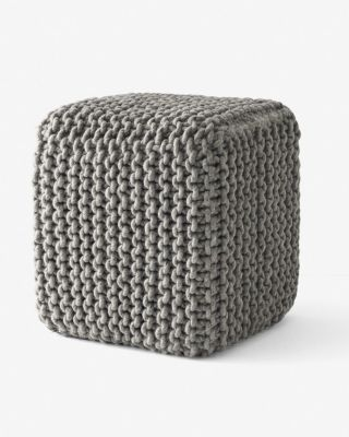 Braided-Wool Square Pouf