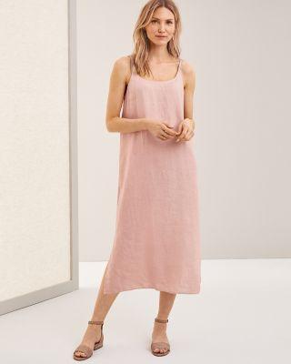 EILEEN FISHER Organic-Handkerchief-Linen Midi Dress Petite