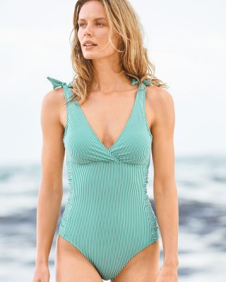 Ralph Lauren Seersucker Stripe One-Piece Swimsuit