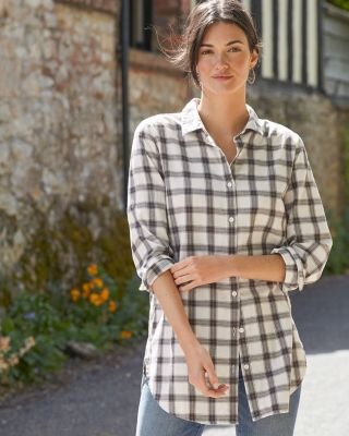 Button Front Organic Cotton Flannel Tunic Top