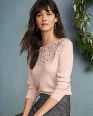 Cashmere Shimmer and Shine Beaded Sweater