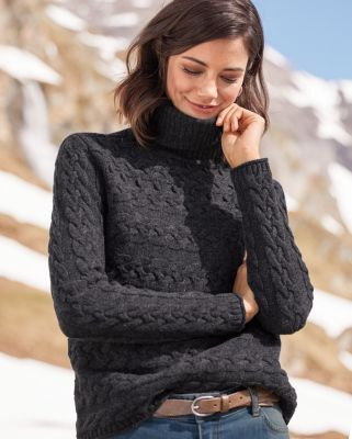 Bobble-Stitch Merino Turtleneck Sweater
