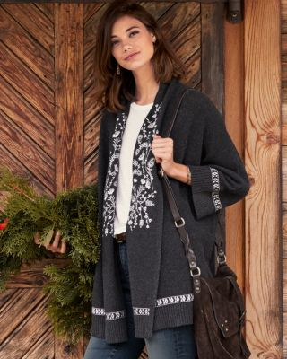 Embroidered Kimono Cardigan Sweater