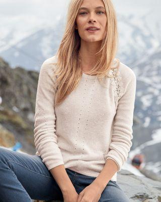 Lace Raglan Pullover Sweater
