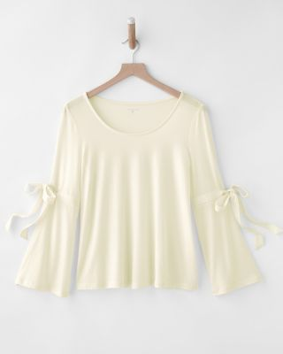 Tie-Detail Bell-Sleeve Knit Top