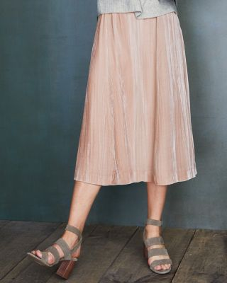 Crinkle Velvet Midi Skirt