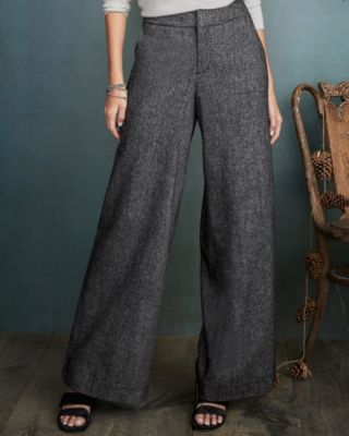 Peppered-Tweed Wide-Leg Women's Trousers