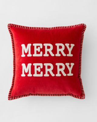 Crewel-Embroidered Merry Merry Holiday Pillow