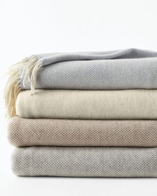 Basket-Weave Lambswool & Cashmere Throw Blanket