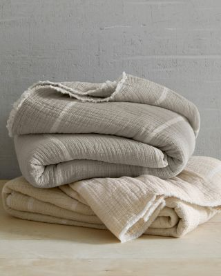 EILEEN FISHER Organic-Cotton Gauzy Stripe Reversible Blanket & Throw