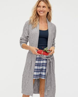 Organic-Cotton Cabled Sweater Robe