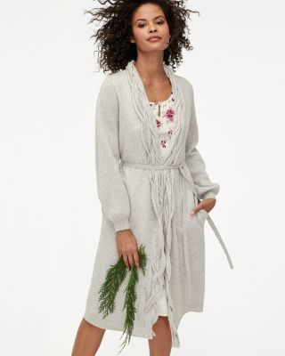 Braided Collar Belted Cashmere Robe