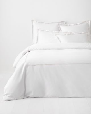 Garnet Hill Signature Double Stripe Embroidered Percale Duvet Cover