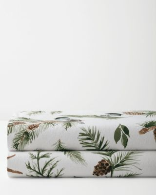 Chickadee and Pine Organic-Cotton Flannel Sheets