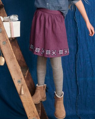Girls' Abigail Woven Embroidered Skirt
