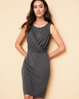 Cross-Pleated Knit Dress