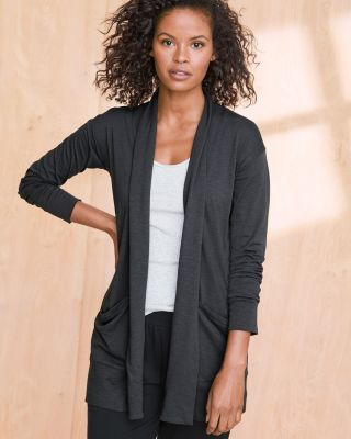 Draped-Pocket Organic Cotton Knit Cardigan