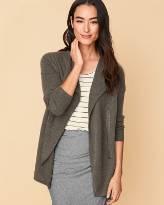Recycled-Cashmere Zip Cardigan Sweater