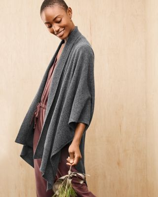 Recycled-Cashmere Travel Ruana Wrap