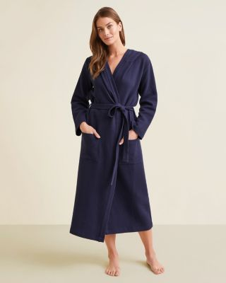 Waffle-Knit Organic Cotton Spa Robe With Hood