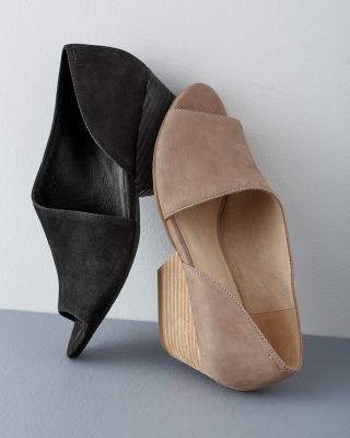 EILEEN FISHER Fig d'Orsay Open Toe Leather Shoes