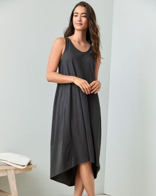 EILEEN FISHER Organic-Cotton Pleat-Back Gown