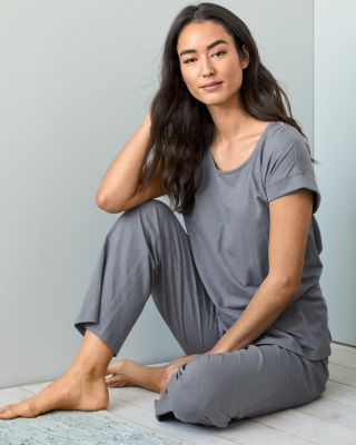 NEW EILEEN FISHER Organic-Cotton Banded Knit Pajamas