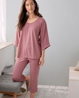 NEW EILEEN FISHER Organic-Cotton Rolled-Sleeve Cropped Pajamas