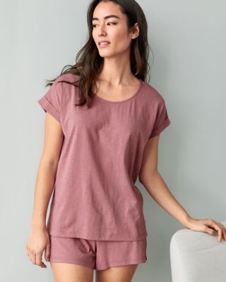 SAVE EILEEN FISHER Organic-Cotton Rolled-Sleeve Shorty Pajamas