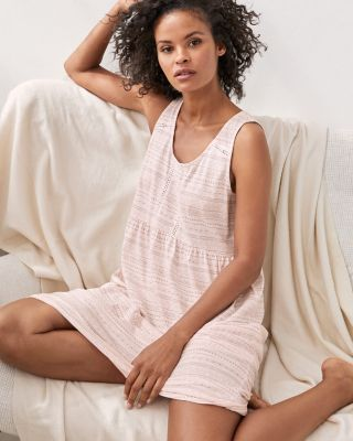 Bohemian Hemstitched Organic Cotton Sleeveless Nightgown
