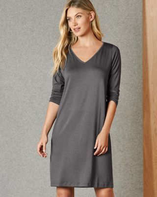EILEEN FISHER Fine TENCEL™-Jersey V-Neck Three-Quarter-Sleeve Dress
