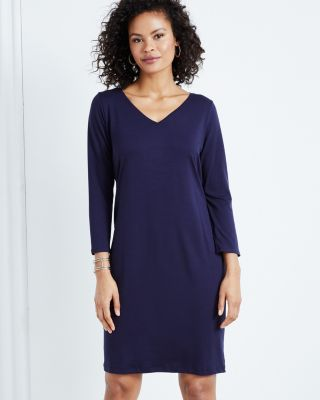 EILEEN FISHER Fine TENCEL-Jersey V-Neck Three-Quarter-Sleeve Dress Petite