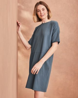 SAVE EILEEN FISHER Organic-Cotton-Jersey Round-Neck Dress