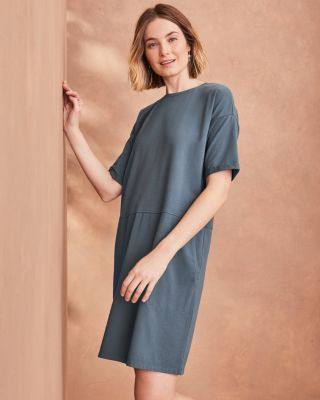 EILEEN FISHER Organic-Cotton-Jersey Round-Neck Dress Petite