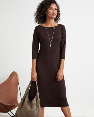 EILEEN FISHER Fine TENCEL™-Jersey Bateau-Neck Midi Dress