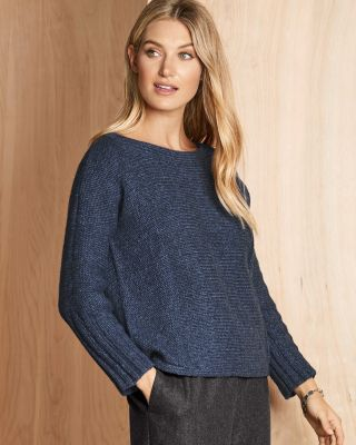EILEEN FISHER Alpaca & Organic-Cotton Dolman-Sleeve Sweater Petite