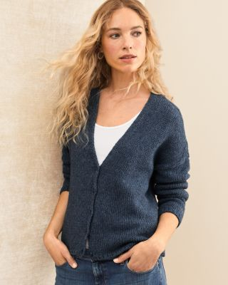 EILEEN FISHER Alpaca & Organic Cotton Modern Cardigan Sweater