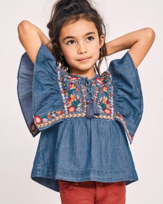 Girls' Deja Embroidered Denim Top by Blu & Blue